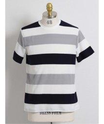 semanticdesign/ヘリンボンボーダー柄クルーネック半袖Tシャツ/503382443