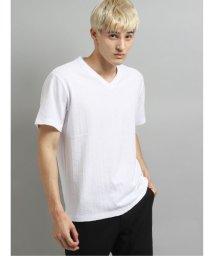 TAKA-Q/吸汗速乾 エスニックジャガードW衿Vネック半袖Tシャツ/503382448