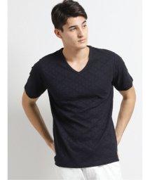 TAKA-Q/吸汗速乾 チェックジャガードVネック半袖Tシャツ/503382450