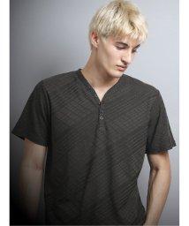 TAKA-Q/吸汗速乾 バイヤスジャガードYヘンリー半袖Tシャツ/503382460