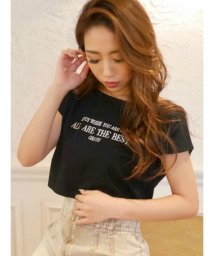 RESEXXY/ロゴ刺繍ボートネックTシャツ/503355112