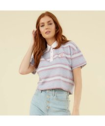 GUESS/ゲス GUESS GUESS Originals Cropped S/S Polo Shirt (CASCADE STRIPE LAVENDAR)/503386496
