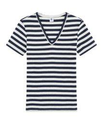 PETIT BATEAU/【Femme】ボーダーVネック半袖Tシャツ/503364658