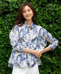 NARA CAMICIE/サバンナプリント七分袖ビッグシャツ/503385829