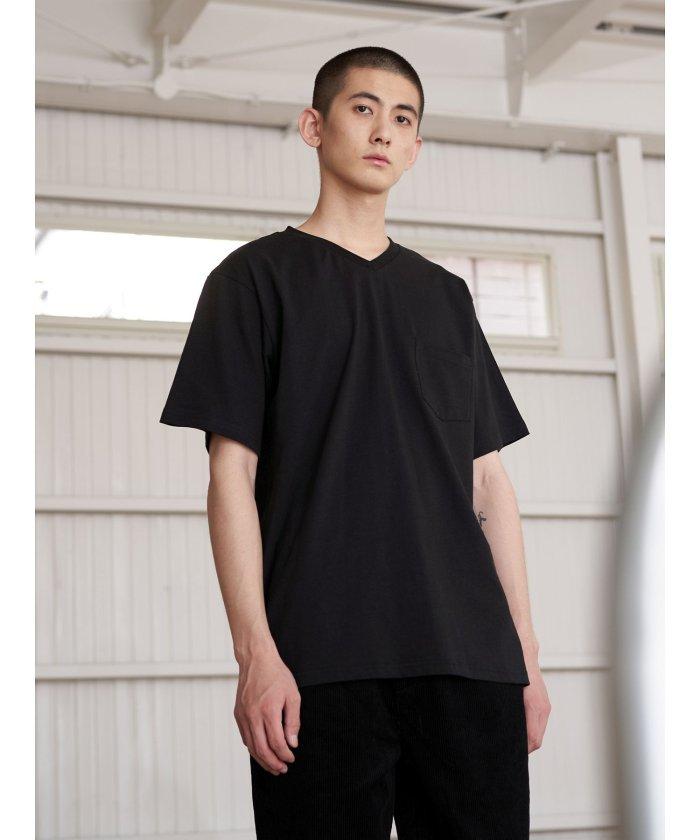 【70%OFF】 コエ オーガニックコットンVネックバインダーTシャツ メンズ ブラック S 【koe】 【セール開催中】