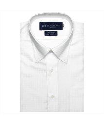 BRICKHOUSE/ワイシャツ 半袖 形態安定 スナップダウン 白×チェック織柄/503392410