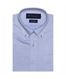 BRICKHOUSE/ワイシャツ 半袖 形態安定 ボタンダウン サックス×小紋織柄/503392413