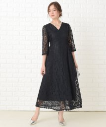 Lace Ladies/襟元スッキリ 総レース七分袖ロング丈ワンピース・ドレス/503355861