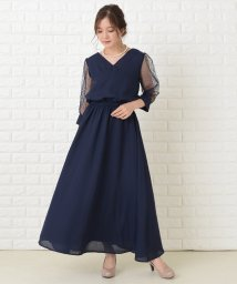 Lace Ladies/ドットチュール袖ロングドレス ワンピース・ドレス/503355865