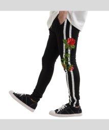 1111clothing/ラインパンツ メンズ ジョッパーズパンツ レディース サルエルパンツ ジョッパーズ スキニーパンツ メンズ 薔薇 柄 パンツ 刺繍 スキニー スリムパンツ ペア/503396144