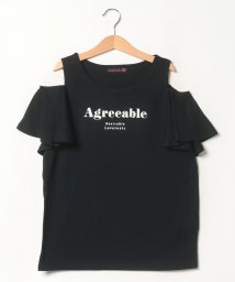Lovetoxic/フリル肩開きロゴTシャツ/503390526