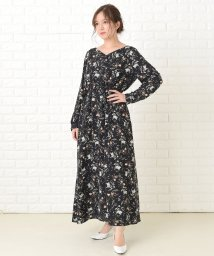 Lace Ladies/花柄フレア 長袖ロングワンピース/503355838