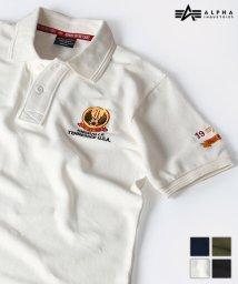ALPHA/【ALPHA】 アルファ ワッペン付き ミリタリー 半袖 ポロシャツ/503380262