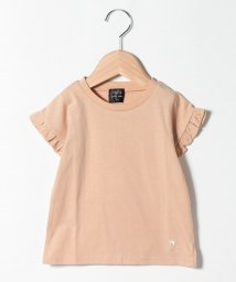 petit main/オーガニックコットン 吸汗涼感 袖フリルワンポイント刺しゅうTシャツ/503396039