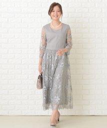 Lace Ladies/花柄シースルー袖ロングパーティドレス・ワンピース/503355842