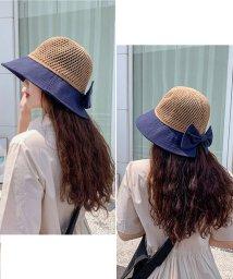 miniministore/帽子 つば広 レディース 配色 UVカット ビッグリボン 日よけ防止 紫外線対策 折りたたみ 小顔効果 可愛い/503404309