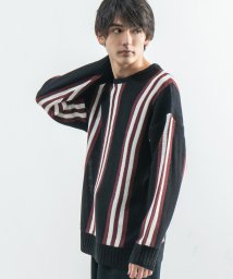 Rocky Monroe/ニット セーター メンズ カジュアル クルーネック ストライプ オーバーサイズ ビッグシルエット ドロップショルダー 長袖 ストリート 8443/503408517