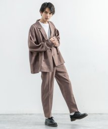 Rocky Monroe/テーラードジャケット テーパードパンツ スラックス セットアップ メンズ ダブルブレスト 長袖シャツ ワイド カジュアル シンプル ビッグシルエット オーバーサ/503408943