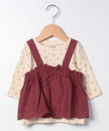 petit main/スカラップレースビスチェ×花柄Tシャツセット/503403575