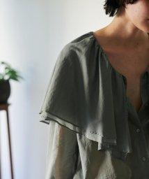 BACCA/【WEB先行予約】コットンボイル ラッフルカラーシャツ/503415696