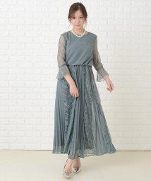 Lace Ladies/プリーツ&花柄レースロング丈 ワンピース・ドレス/503355845