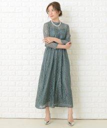 Lace Ladies/シースルー袖総レースロング丈ワンピース・ドレス/503355851