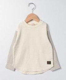 petit main/袖ストライプ切り替えTシャツ/503408200