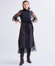 LANVIN en Bleu/チェック袖なしロングベスト/503393502