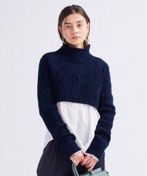 LANVIN en Bleu/クロップドケーブルショート丈ニット/503393506