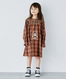 green label relaxing (Kids)/【キッズ】GLR 刺しゅうチェックワンピース/503406008