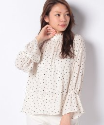 le.coeur blanc OUTLET/ドットフロッキープリントブラウス/503412047