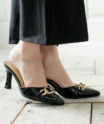 Julia Boutique/チェーンデザインポインテッドトゥミュール/20509 レディース シューズ 靴 くつ サンダル パンプス チェーン クロコ/503425687