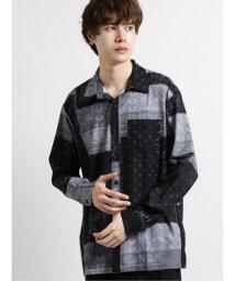 semanticdesign/ストレッチ ペイズリー柄レギュラーカラー長袖BIGシャツ/503425880