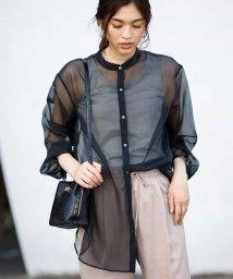 a.v.v/【洗える】シアーオーガンジーバンドカラーシャツ/503350345