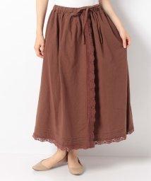 Samansa Mos2/【SM2】綿麻巻き風レーススカート/503422334