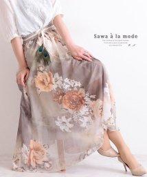 Sawa a la mode/花柄シフォンのフレアスカート/503428365