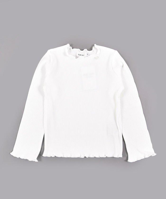 べべオンラインストア 無地+ボーダー チャーム付き テレコ 長袖 Tシャツ (80cm〜130cm) キッズ ホワイト 130cm 【BEBE ONLINE STORE】