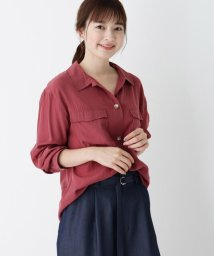 pink adobe/【WEB限定LLサイズあり】Wポケットサテンシャツ/503448601