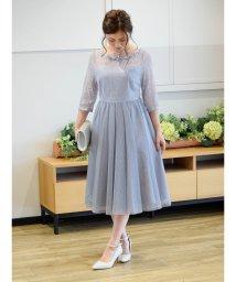 Eimy Peral/バックV×チュールスカート袖付きドレス/502409987