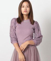 MISCH MASCH/配色チュールレース袖ニット/503411021