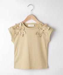 Couture Brooch/【WEB限定KIDS/洗える/親子コーデ】リボンフレンチスリーブTシャツ/503450411