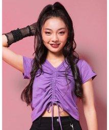 ZIDDY/【ニコプチ掲載】前 ギャザー Vネック Tシャツ (130cm~160cm)/503411098
