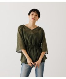 AZUL by moussy/SHEER BORDER PEPLUM BLOUSE/503450860
