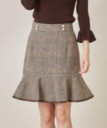 tocco closet/パール飾り釦付きチェック柄裾フレアミニスカート/503467016