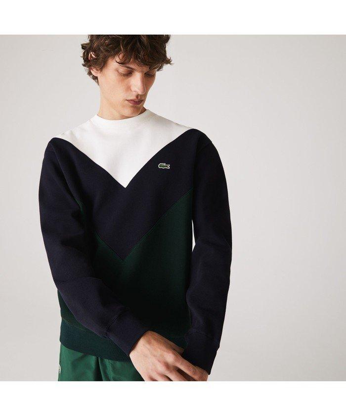 【30%OFF】 ラコステ カラーブロックスウェットシャツ メンズ ダークグリーン 3(日本サイズM) 【LACOSTE】 【セール開催中】