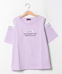 Lovetoxic/ボックスロゴ刺しゅう肩開きTシャツ/503464613