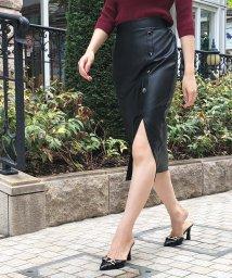 Julia Boutique/フロントボタンフェイクレザースリットスカート /20506 スカート レディース 秋冬 タイト レザー フェイクレザー スリット ウエストゴム 前ボタン ブラッ/503490728