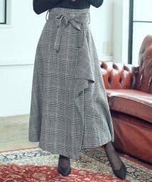 Cherie Mona/チェックドレープスカート/503477192