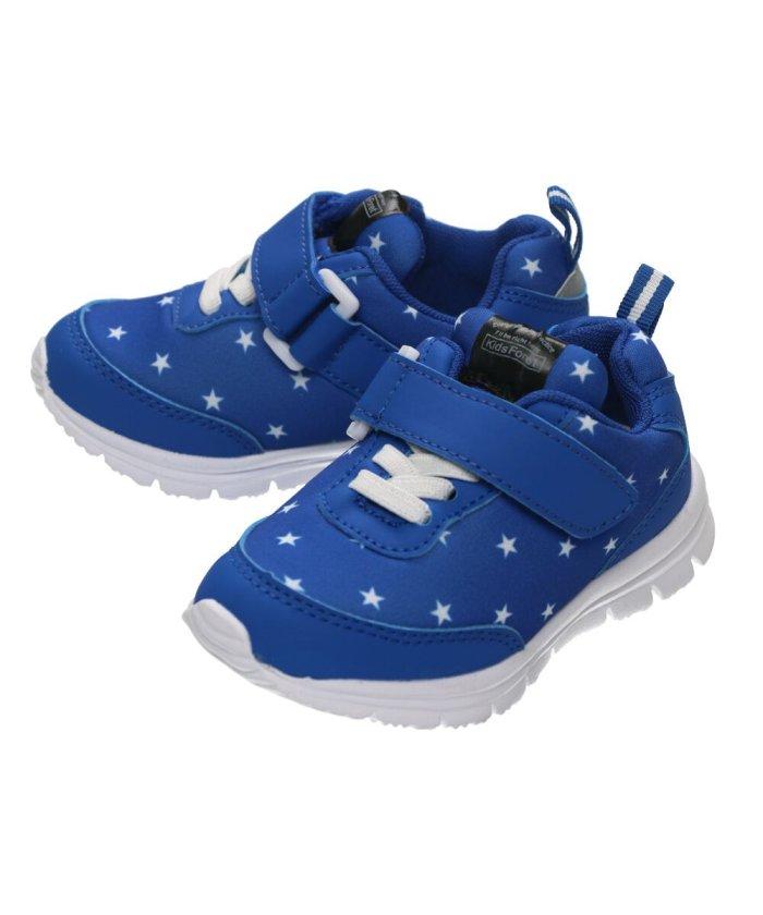 こどもの森 Kids Foret (キッズフォーレ) 花柄・星柄ジョギングシューズ・スニーカー・靴 15cm〜19cm キッズ ブルー 17 【KODOMONOMORI】
