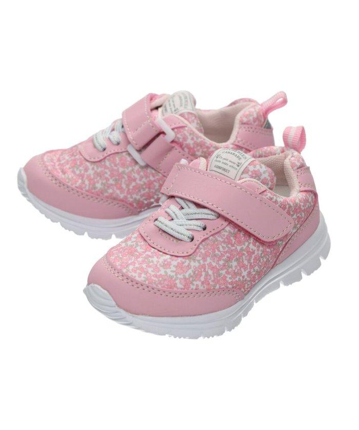 こどもの森 Kids Foret (キッズフォーレ) 花柄・星柄ジョギングシューズ・スニーカー・靴 15cm〜19cm キッズ ピンク 16 【KODOMONOMORI】